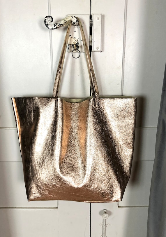 Pink gold leather tote bag