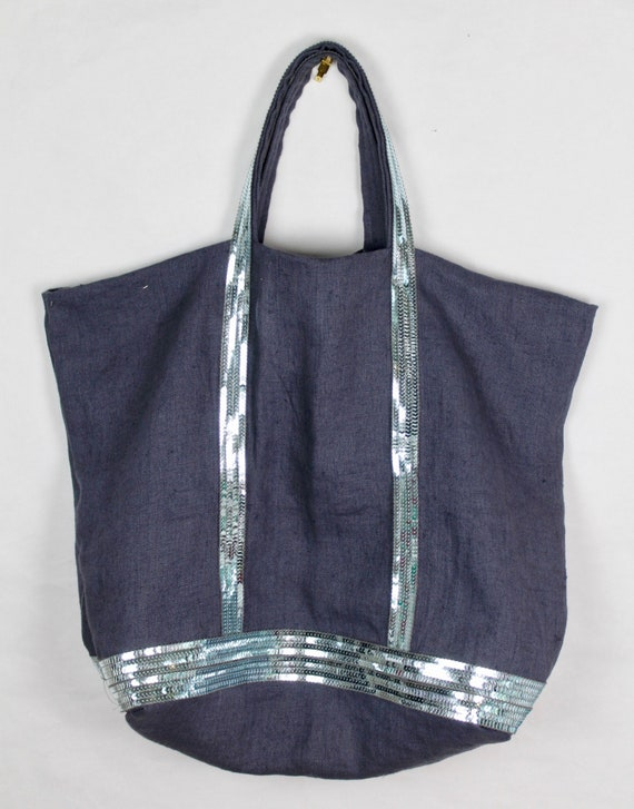 Grey washed linen tote bag with blue sequins