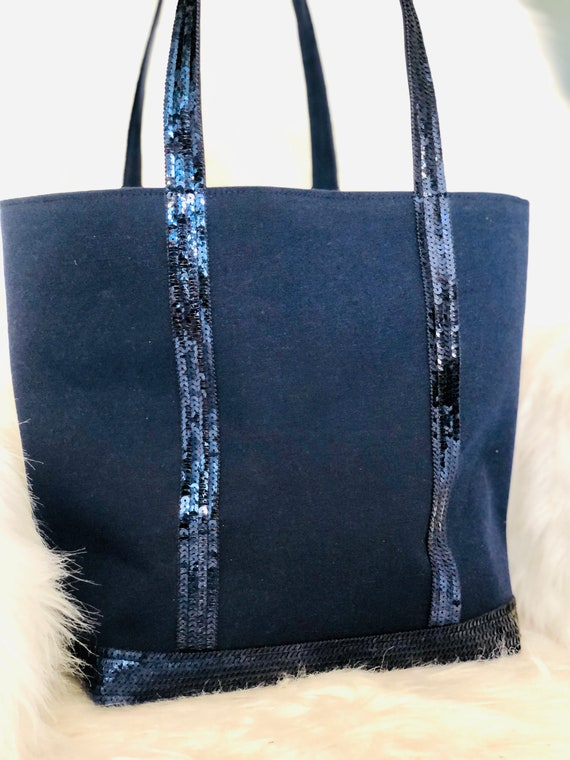 Navy cotton tote bag with navy sequins