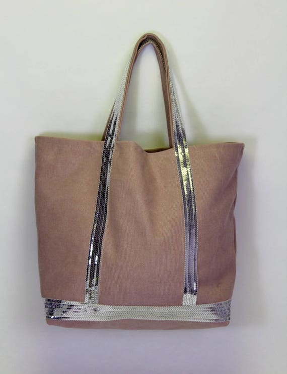 Vanessa Bruno style dusty pink with silver sequins tote bag