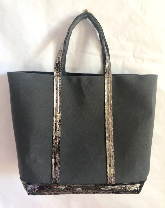 Silver grey sequin tote bag