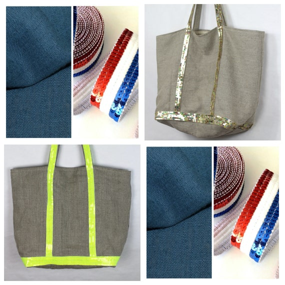 Oversize washed linen tote, Vanessa Bruno style tote, sequin tote, beach bag, summer tote bag, linen sequin purse