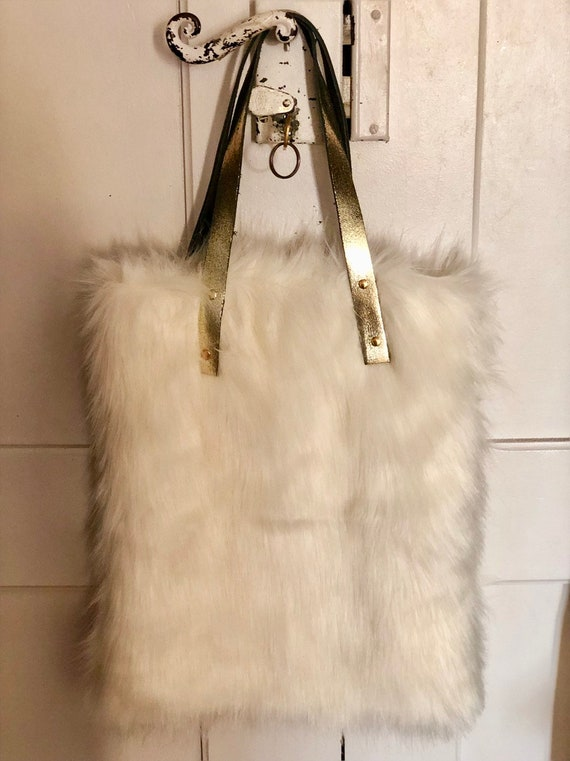 White fur tote bag christmas gift fur bag gold leather handles cream fur carry all birthday gift winter it bag