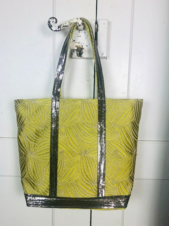 Vanessa Bruno light khaki tote with light gold sequins