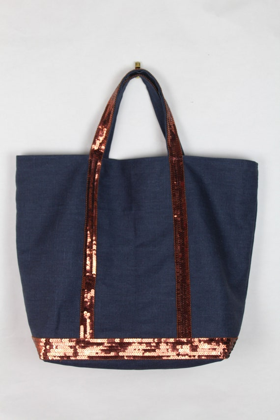 Vanessa Bruno style navy coated linen tote bag with burnt orange sequins