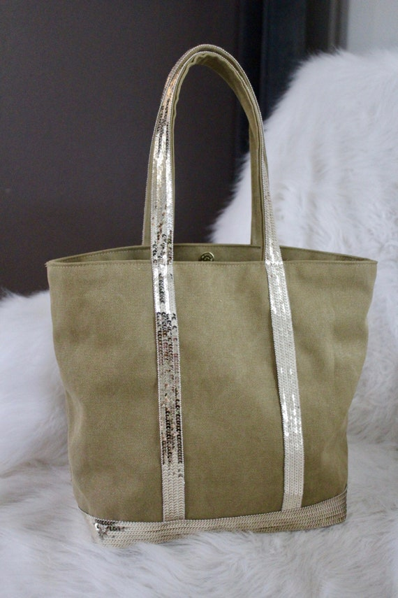 Cotton tote bag Vanessa Bruno style with sequins