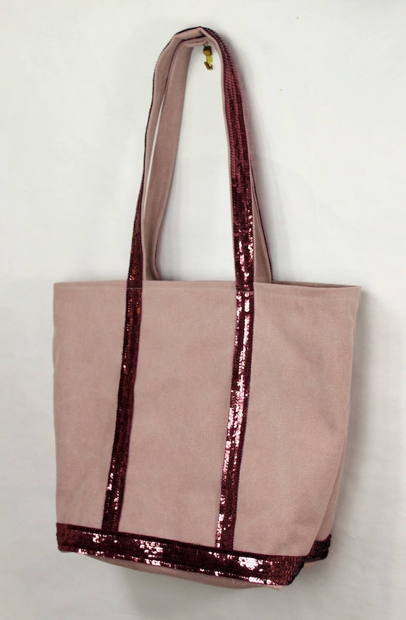 Vanessa Bruno style dusty pink tote bag with pink sequins