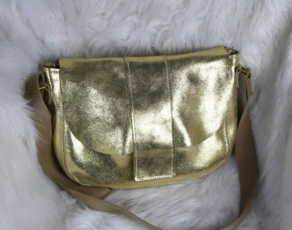 Gold leather crossbody bag