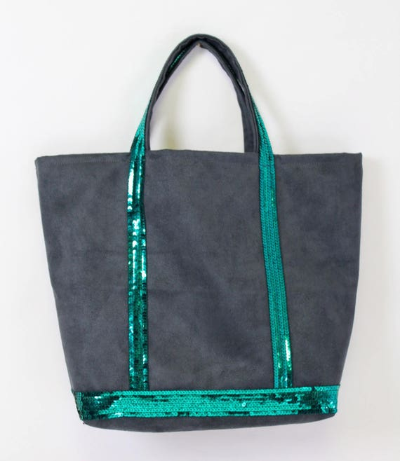 Vanessa Bruno style faux suede grey tote with emerald green sequins