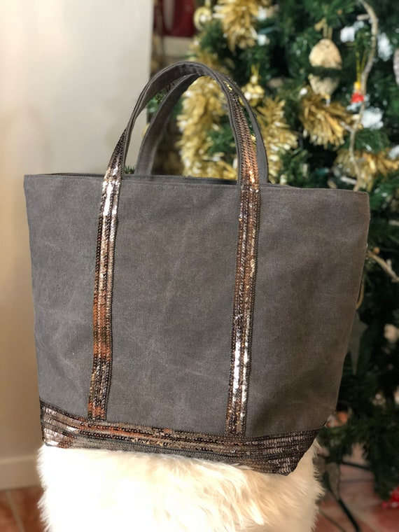 Grey cotton tote bag with silver sequins with top zipper