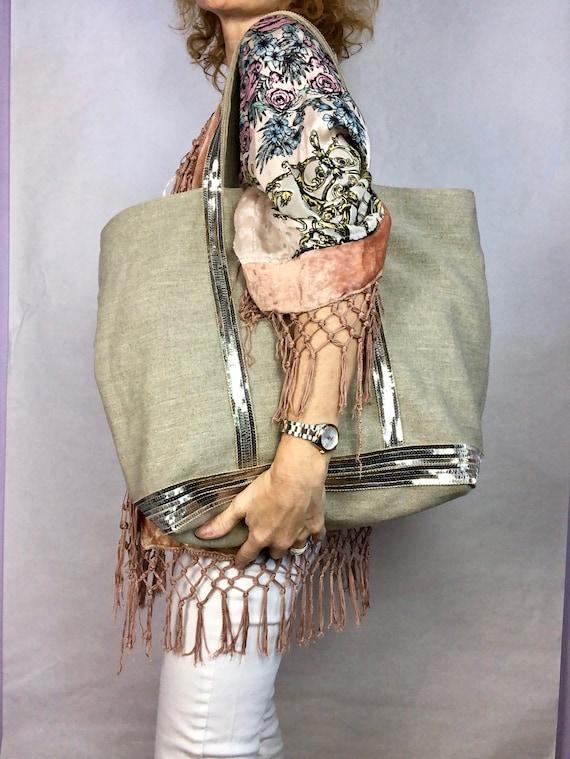 Large natural linen tote bag