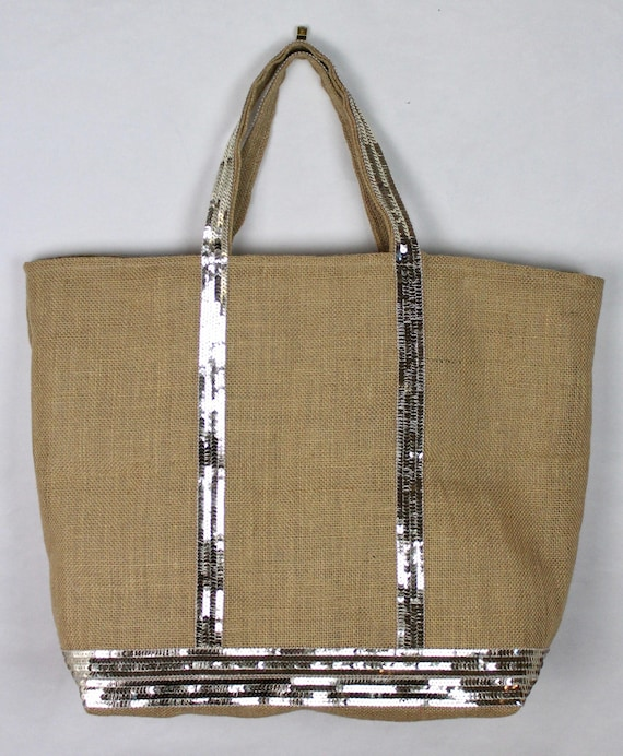 Hessian sequin tote bag