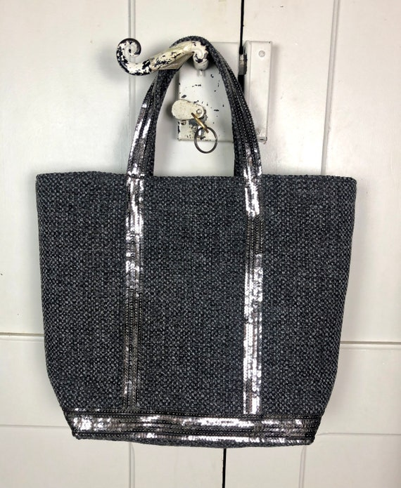 Grey tweed tote bag with silver grey sequins