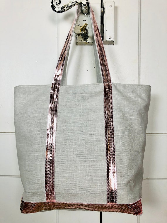 Vanessa Bruno style light grey coated  linen sequin tote bag powder pink sequins