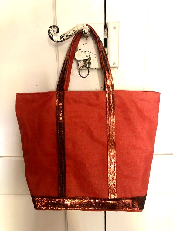 Prune coated linen tote bag with prune coloured sequins