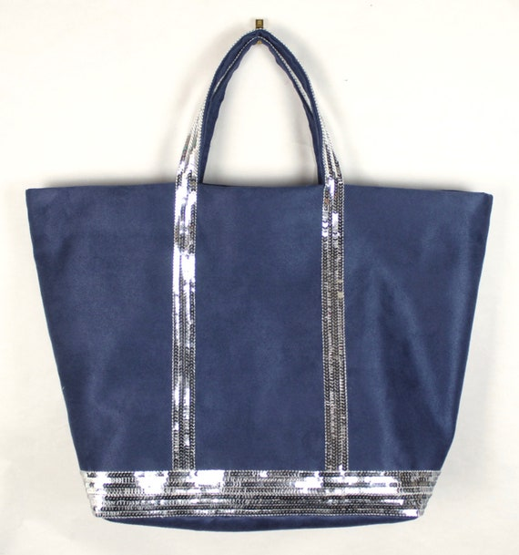 Vanessa Bruno style tote bag, linen tote bag, sequin tote bag, silver sequins, birthday gift, college tote bag