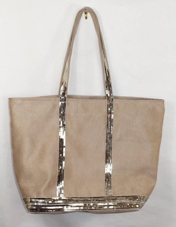 LARGE tote in beige suede style Vanessa Bruno the glitter gold