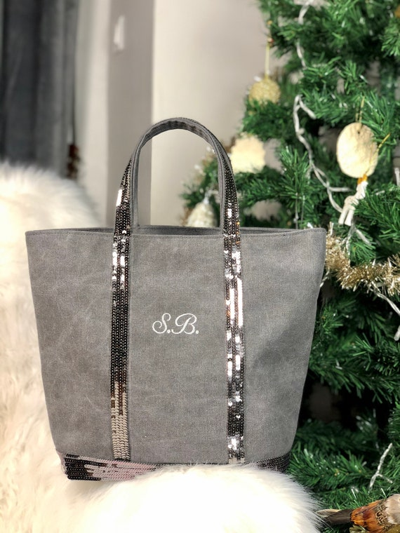 Personalised grey sequin tote, Vanessa Bruno style grey cotton tote bag with silver sequins, monogram purse