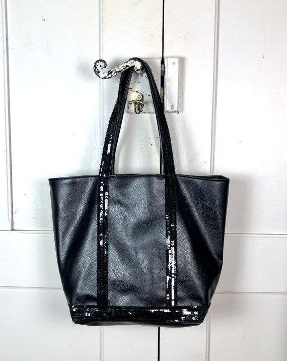 Large black faux leather shopper with black sequins