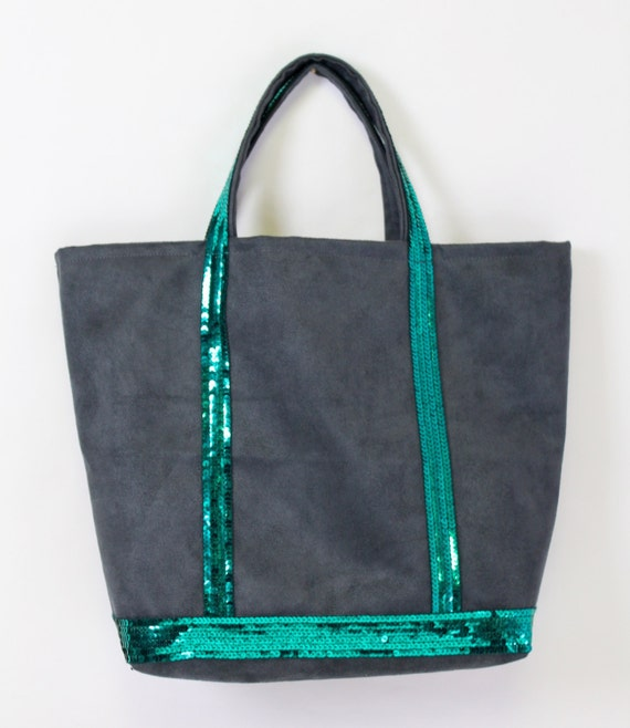 Grey faux suede tote with emerald green sequins in the style of Vanessa Bruno
