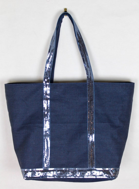 Vanessa Bruno style navy sequin tote bag, Navy sequin tote bag, navy shopper bag, work bag, carry all, sequin office tote bag, personalised