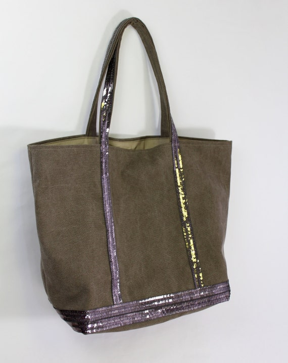 Large cotton khaki  tote bag with silver grey sequins Vanessa Bruno style