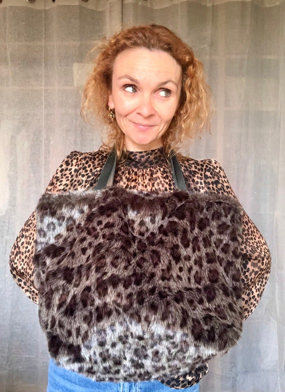 Leopard print faux fur tote bag gift for her fur bag gold leather handles leopard fur carry all birthday gift winter it bag