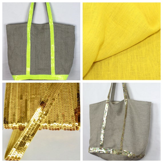 Oversize yellow washed linen tote, Vanessa Bruno style tote, yellow sequin tote, beach bag, summer tote bag, linen sequin purse