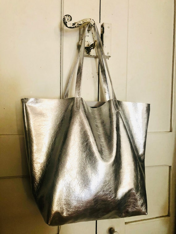 Rock chick silver leathe tote bag