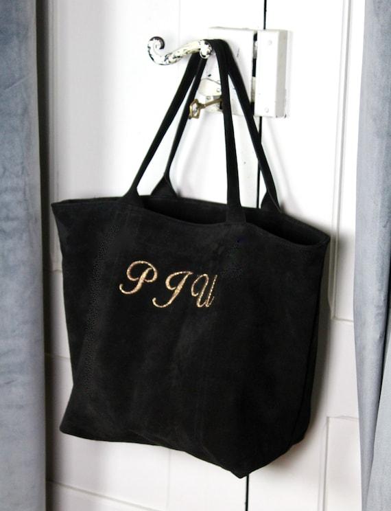 Personalised black suede tote bag