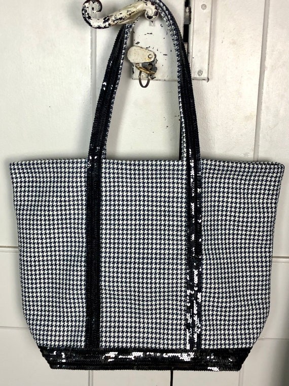 Vanessa Bruno style dog tooth tote bag with black sequins