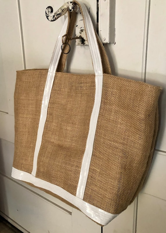 Hessian sequin tote bag white sequins