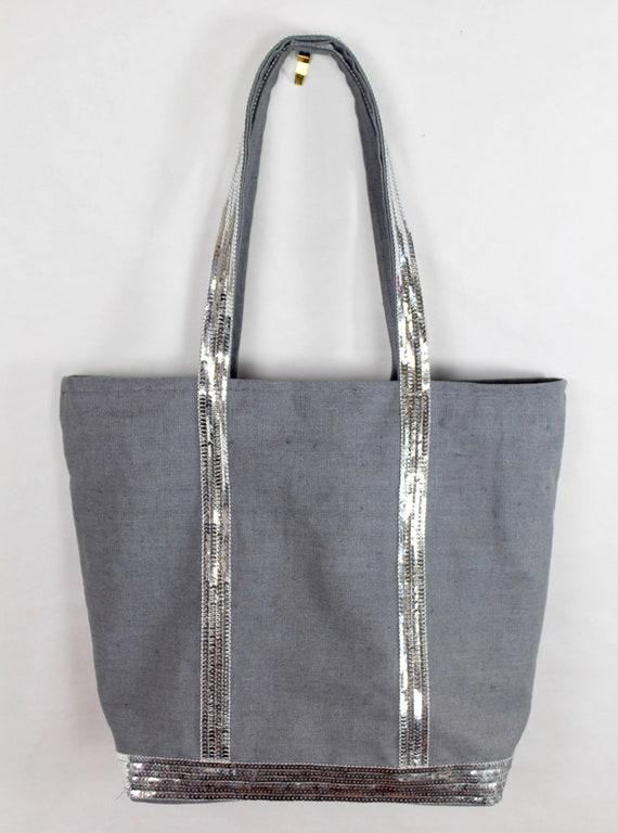 Vanessa Bruno style grey linen sequin tote bag, silver sequin tote bag, grey shopper bag, carry all, sequin office tote bag, carry all