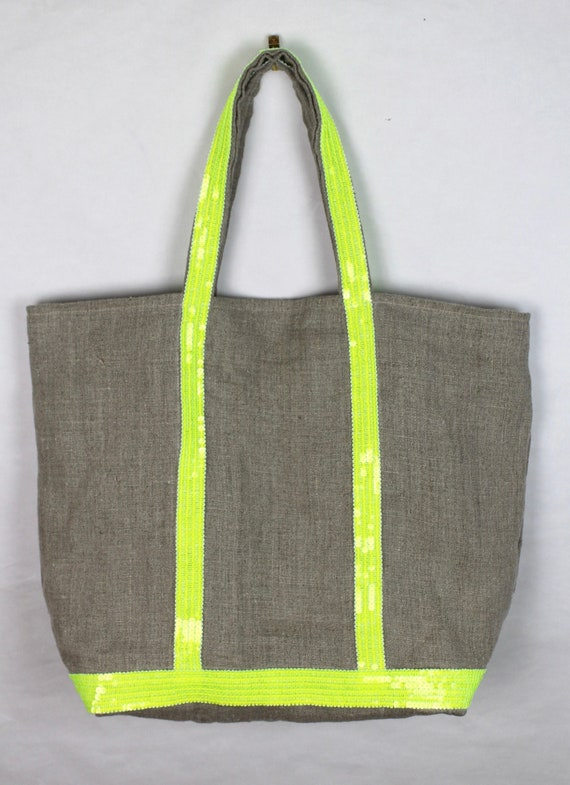 Oversize linen tote, Vanessa Bruno style tote, fluorescent sequin tote, beach bag, sale bag, summer tote bag, linen sequin purse