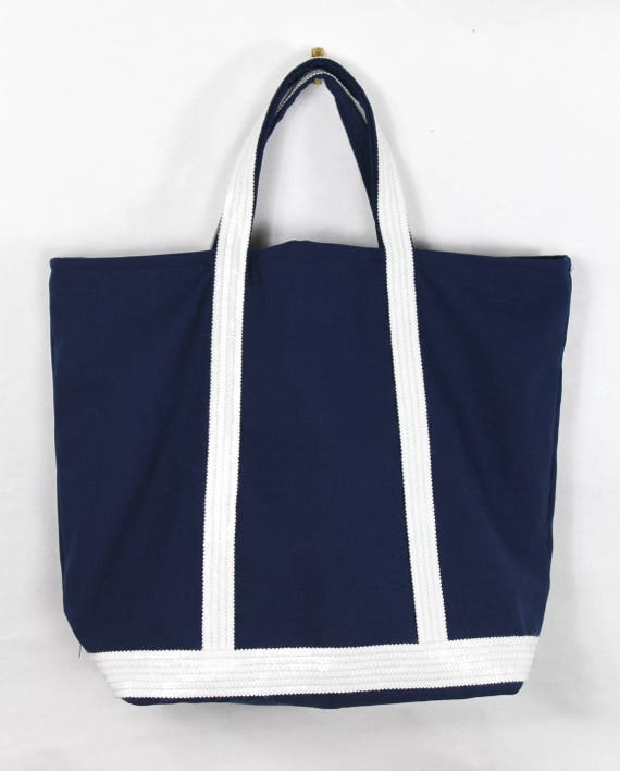 White glitter and Navy blue cotton canvas tote style Vanessa Bruno