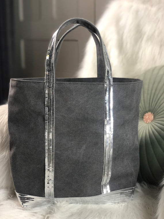 Vanessa Bruno style grey cotton tote bag with silver sequins with top zipper