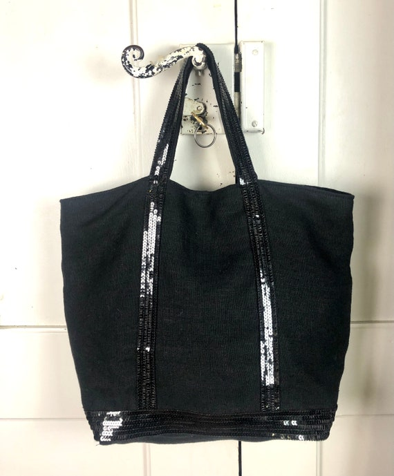Black linen tote with black sequins