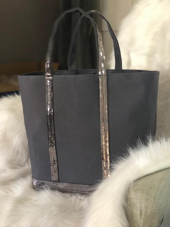 Silver grey sequin tote bag