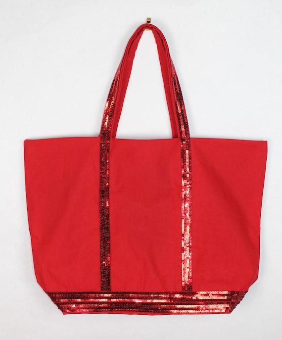 Vanessa Bruno tote, red sequin bag, large red tote, work bag, it bag, birthday gift for her, best seller, trendy bag, office bag