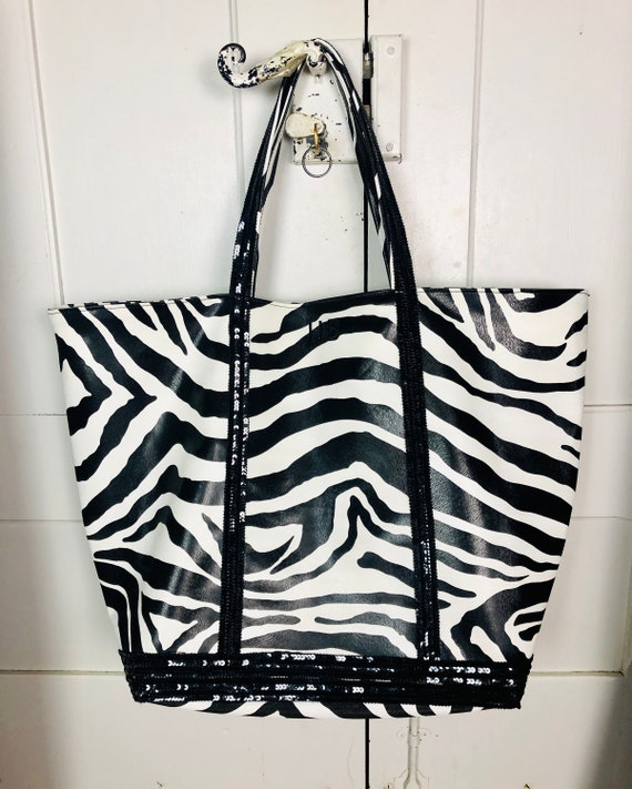 Bag bags simili leather zebra black sequins