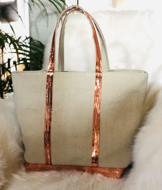 Oversize natural linen tote with peach sequins