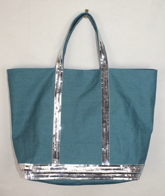 Duck egg blue sequin tote bag with silver sequins