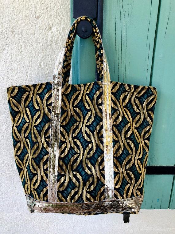 Vanessa Bruno style tote bag, ethnic tote bag, gold sequin tote