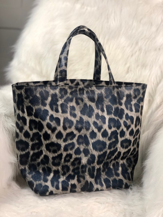Faux leather leopard print tote bag