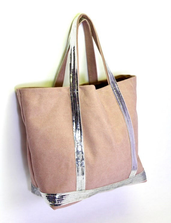 Iconic pink tote with silver sequins