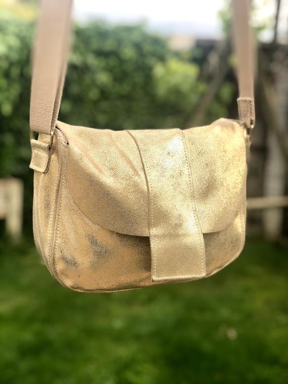 Gold leather crossbody bag