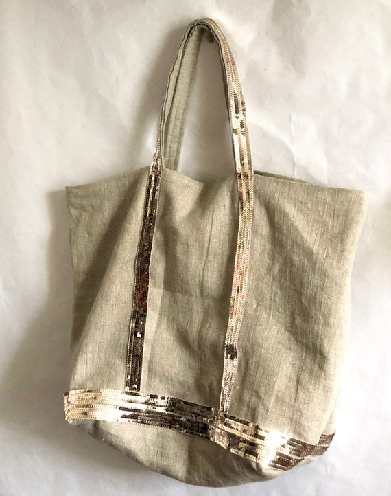 Washed linen tote bag with gold sequins