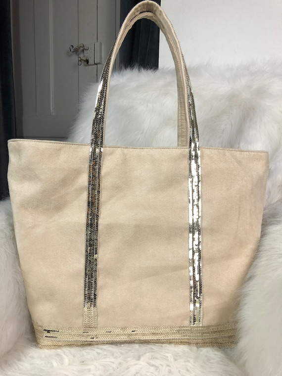 BIG Vanessa Bruno-style beige suede bags with light gold sequins