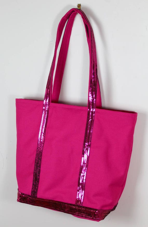 Cabas fucsia cotton canvas and fuchsia sequins style Vanessa Bruno