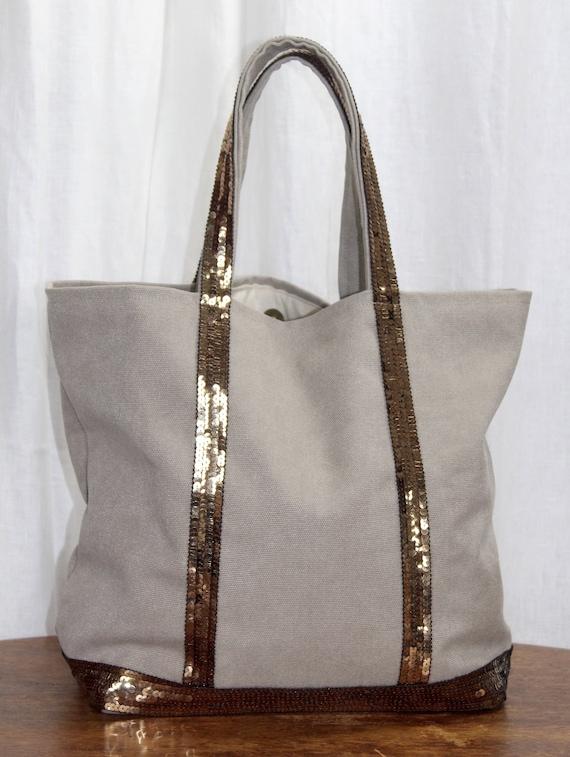 Vanessa Bruno style beige tote with bronze sequins